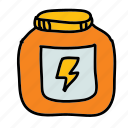 bolt, energy, jar, pot, sports, steroids icon
