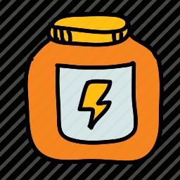 bolt, energy, jar, pot, sports, steroids icon
