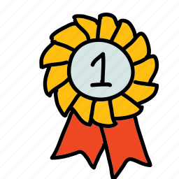 badge, competition, first, place, prize, ribbon, sports icon