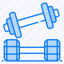 barbells, dumbbells, fitness, halteres, weight lifting icon