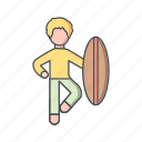surf, surf board, surfer, surfing icon