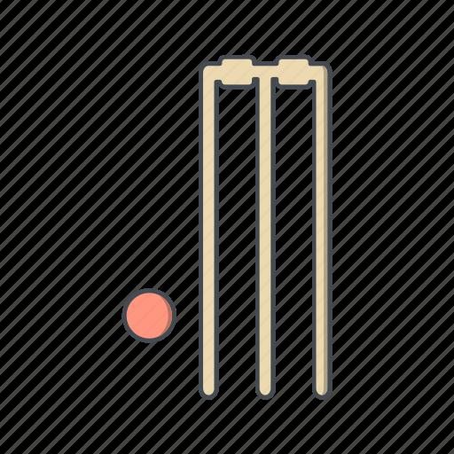 ball, cricket, stumps icon