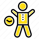 exercise, gym, health, man, time icon