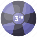 3 kg weight, kg weight, kilogram, weight ball, workout icon
