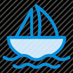 boat, sailboat, sailing, sea, ship, travel, yatch icon