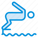 diving, exercise, pool, sea, sports, swimmer, water icon