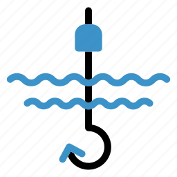 anchor, fish, fishing, hook, ocean, sea, water icon