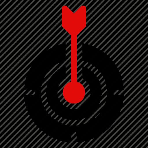 arrow, focus, goal, location, mission, position, target icon