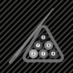 activity, balls, billiard, game, pool, snooker, stick icon