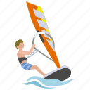sailing, surf, surfer, watersport, wind, windsurfer, windsurfing icon