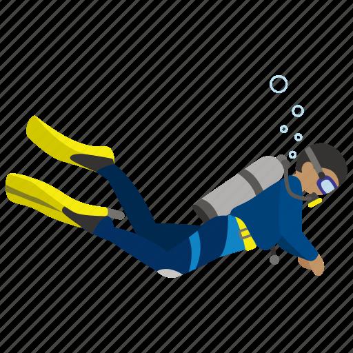 diver, diving, gear, marine, recreation, scuba icon