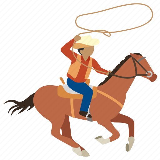 cattle, cowboy, driver, drover, lassoo, riding, roundup icon