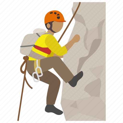 cliff, climber, climbing, harness, mountain, rock, ropes icon