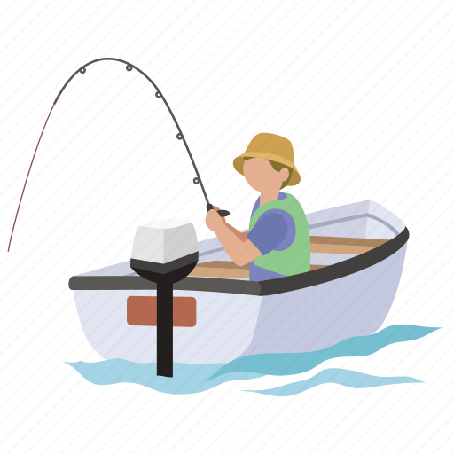 angler, angling, boat, fish, fisher, fishing, recreational icon