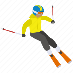 ski, skier, skiing, slalom, slope, snow, sport icon