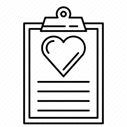clipboard, document, heart, page, report icon