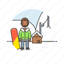 adrenalin, cold, man, mountain, snow, snowboard, sports, winter icon