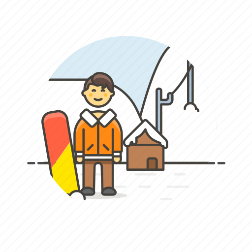 adrenalin, cold, man, mountain, snow, snowboard, sports, winter icon