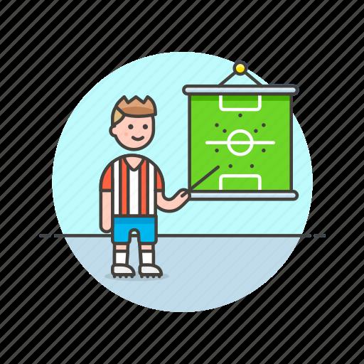 coach, football, game, man, plan, soccer, sports, strategy icon
