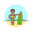 beach, bikini, board, sports, summer, surfer, wave, woman icon