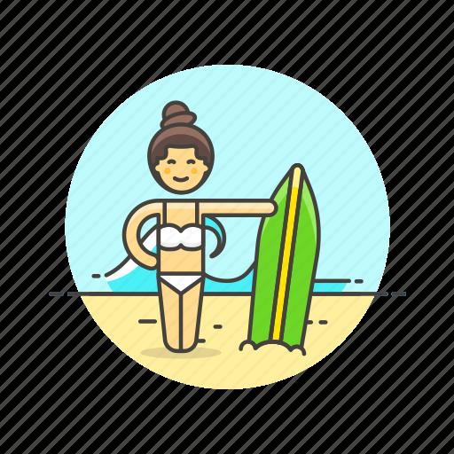 beach, bikini, board, sports, summer, surfer, wave, woman icon