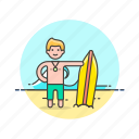 beach, board, sports, suit, summer, surfer, swimming, wave icon