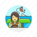 boat, drag, sea, sports, wakeboarding, water, wave, woman icon