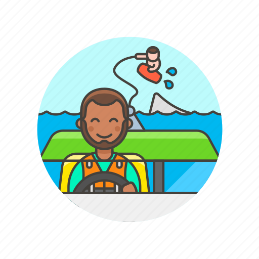 boat, drag, man, sea, sports, wakeboarding, water, wave icon