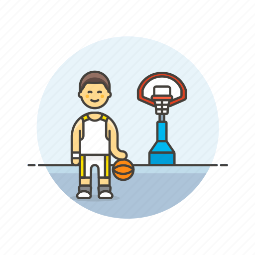 ball, basketball, game, man, outdoor, play, sports, street icon