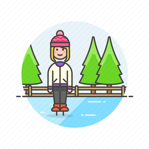 hobby, ice, skating, snow, sports, winter, woman icon
