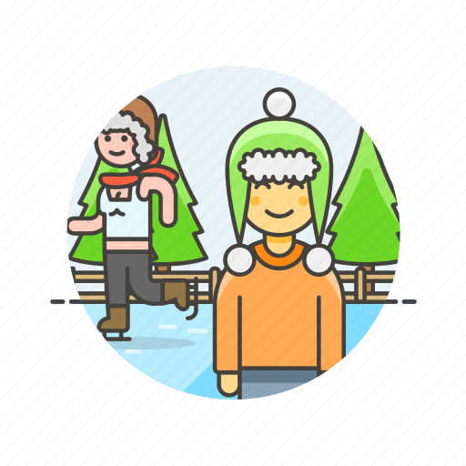 couple, hobby, ice, skating, snow, sports, winter icon