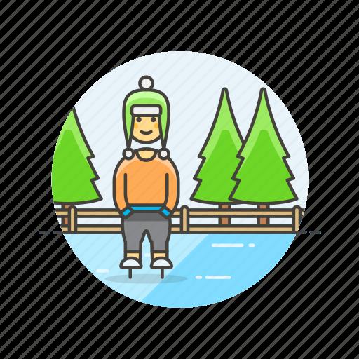 hobby, ice, man, skating, snow, sports, winter icon