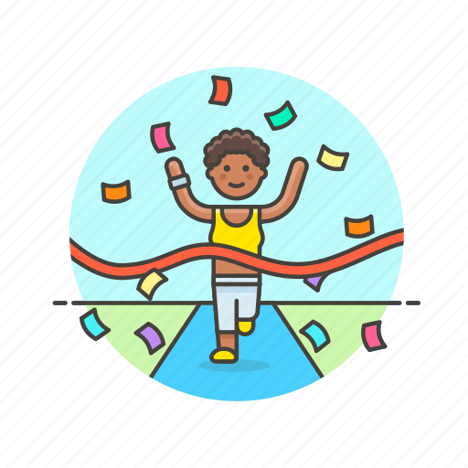 confetti, endline, finish, goal, runner, sports, winner, woman icon