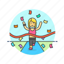confetti, end, goal, runner, sports, victory, win, woman icon