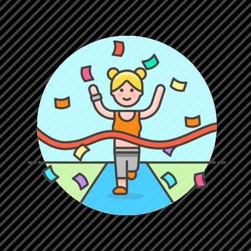 confetti, endline, goal, runner, sports, victory, win, woman icon