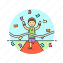 confetti, goal, man, race, runner, sports, victory, winner icon