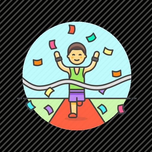 confetti, goal, man, race, runner, sports, victory, winner icon