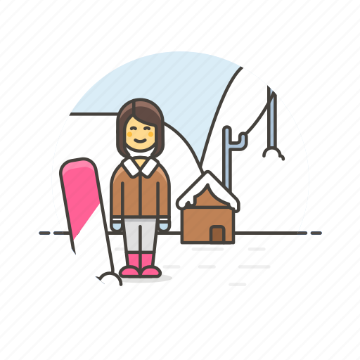 Snowboard, sports, outdoor, snow, winter, woman, cold icon - Download on Iconfinder