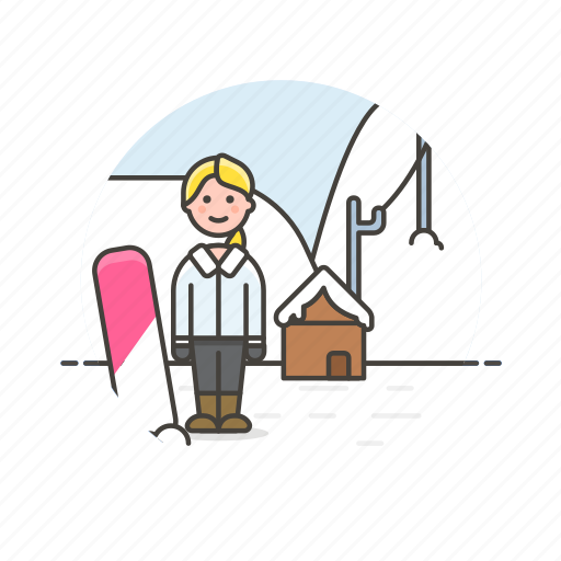 Snowboard, sports, cold, outdoor, snow, winter, woman icon - Download on Iconfinder
