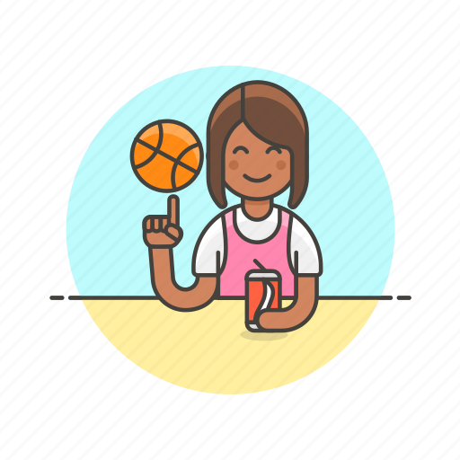 ball, basketball, drink, play, sports, street, woman icon