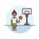 ball, basketball, game, play, sports, street, woman icon
