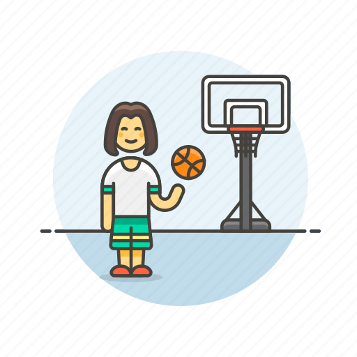 ball, basketball, game, outdoor, play, sports, street, woman icon