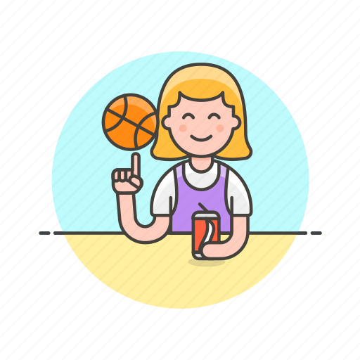 ball, basketball, drink, game, play, sports, street, woman icon