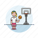 ball, basketball, game, play, sports, street, train, woman icon