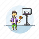 ball, basketball, game, man, play, sports, street icon