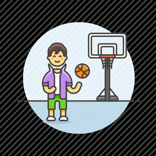 ball, basketball, game, man, play, sports, street icon