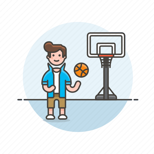 ball, basketball, exercise, game, man, play, sports, street icon
