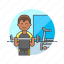 equipment, exercise, gym, man, sports, trainer, weightlifting, workout icon