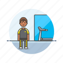 equipment, exercise, fitness, gym, health, man, sports, trainer icon
