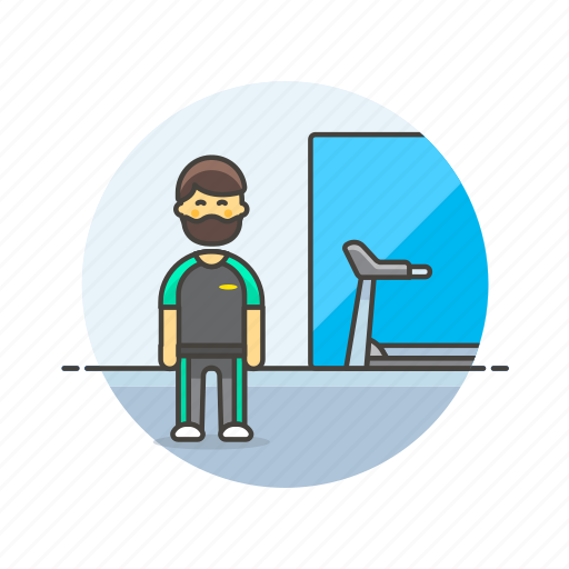 Sports, trainer, exercise, fitness, gym, man, treadmill icon - Download on Iconfinder
